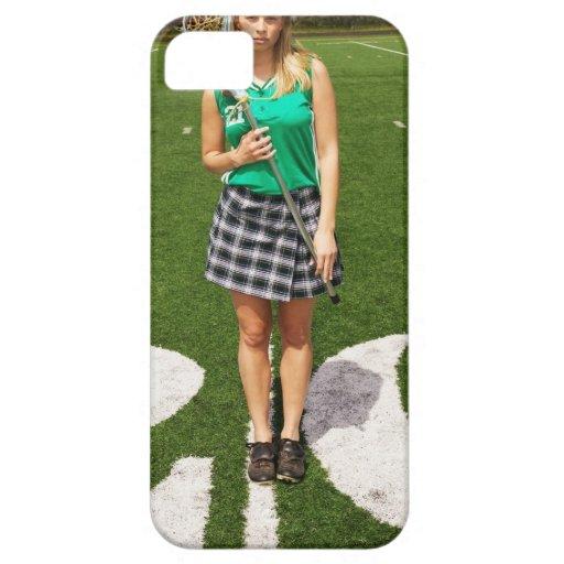 Tenencia del jugador del lacrosse de la High iPhone 5 Carcasa