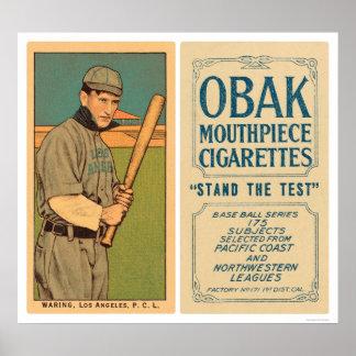 Tener cuidado con el béisbol 1910 de Los Ángeles Póster
