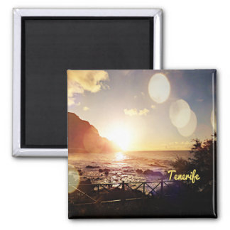 Tenerife,Evening Lights 2 Inch Square Magnet
