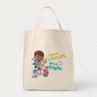Tenga abrazos compartirá bolsa tela para la compra