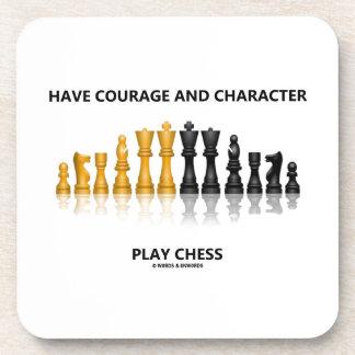 Tenga ajedrez del juego del valor y del carácter posavasos de bebidas