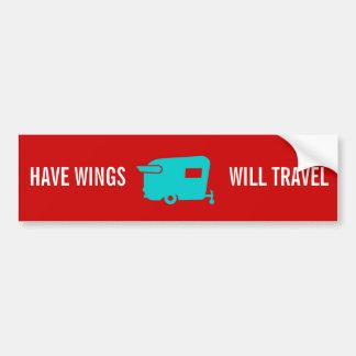 Tenga alas viajará - humor del remolque del viaje etiqueta de parachoque