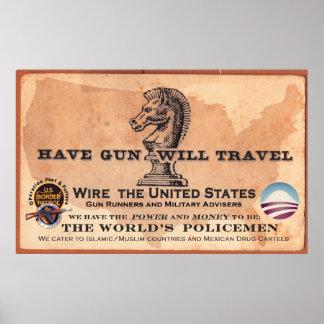 Tenga arma viajará póster