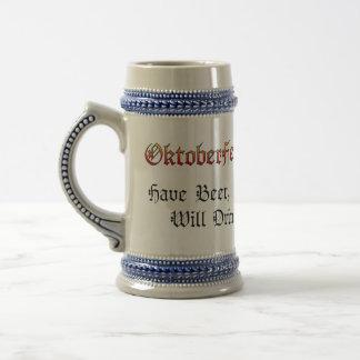 Tenga cerveza, beberá a Stein gris/azul #2 Jarra De Cerveza