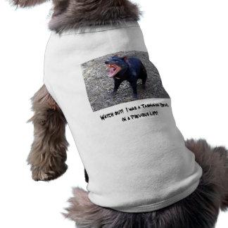 ¡Tenga cuidado!  Era un diablo tasmano Playera Sin Mangas Para Perro