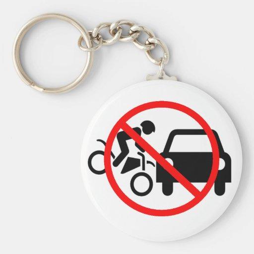 Tenga cuidado para las motocicletas llavero redondo tipo pin