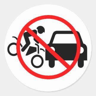 Tenga cuidado para las motocicletas pegatina redonda