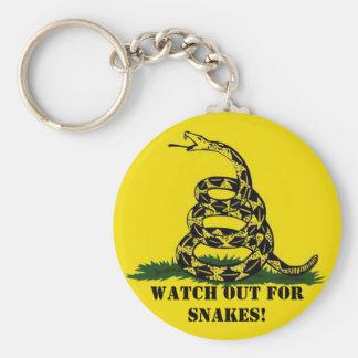 ¡Tenga cuidado para las serpientes! Llavero Redondo Tipo Pin