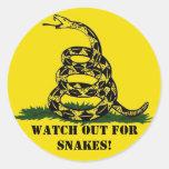 ¡Tenga cuidado para las serpientes! Pegatina Redonda