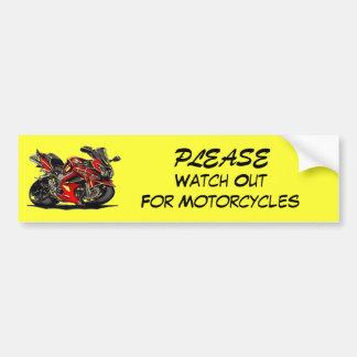 Tenga cuidado POR FAVOR para las motocicletas Pegatina Para Auto