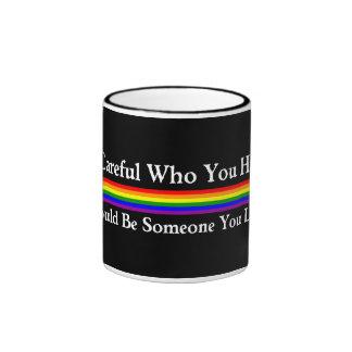 Tenga cuidado taza de dos colores