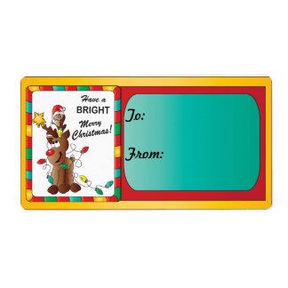 Tenga Felices Navidad brillantes Etiquetas De Envío
