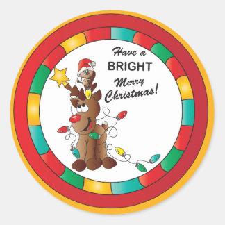 Tenga Felices Navidad brillantes Etiquetas Redondas