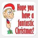 Tenga Felices Navidad fantásticas, divertidas. Calcomanías Cuadradass Personalizadas