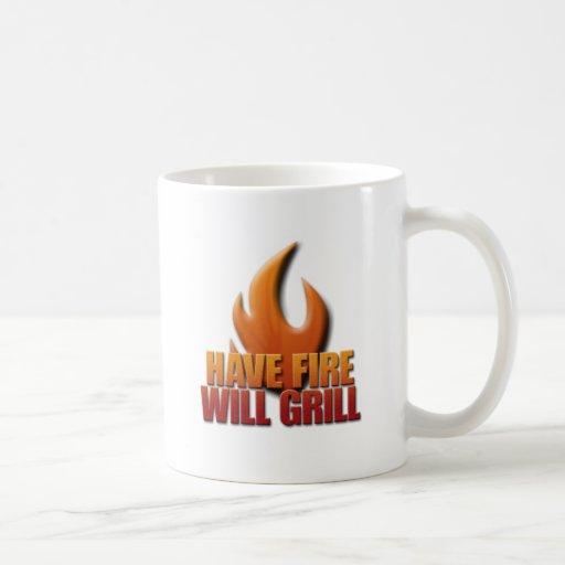 Tenga fuego asará a la parrilla taza
