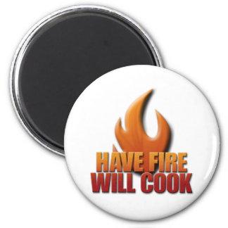 Tenga fuego cocinará imán redondo 5 cm