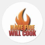Tenga fuego cocinará pegatina redonda