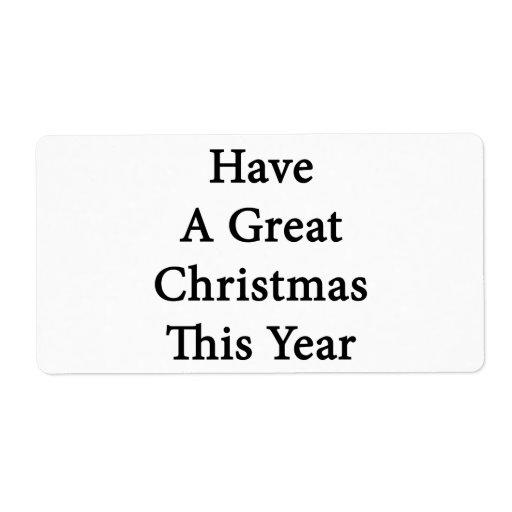 Tenga gran navidad este año etiquetas de envío