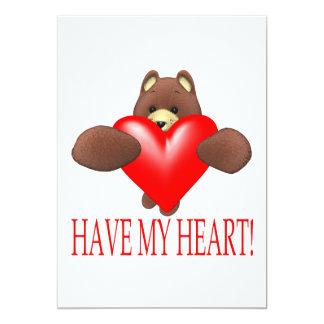 """Tenga mi corazón invitación 5"""" x 7"""""""