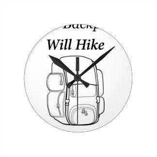 Tenga mochila caminará reloj redondo mediano