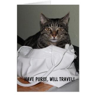 Tenga monedero, viajará tarjeta de felicitación