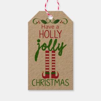 Tenga navidad alegre de un acebo - hecho en casa etiquetas para regalos