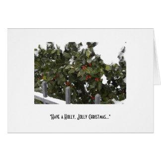 Tenga navidad alegre de un acebo tarjeta de felicitación