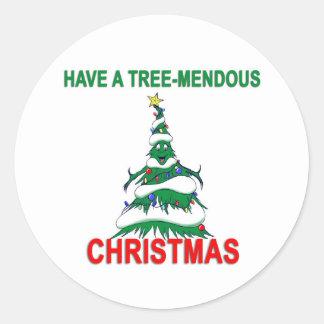 Tenga navidad de un Árbol-Mendous Pegatina Redonda
