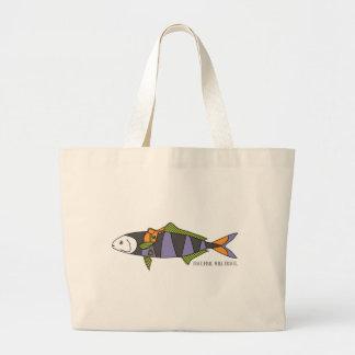 Tenga pescados, viajará bolso bolsa tela grande