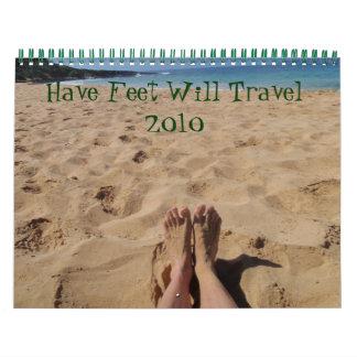 Tenga pies viajará 2010 calendario