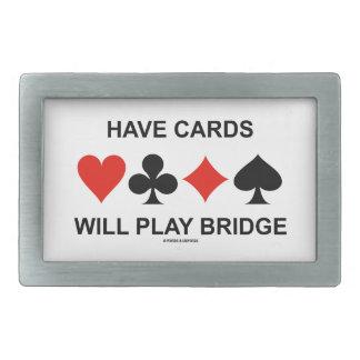 Tenga tarjetas jugará el puente (cuatro juegos de hebillas cinturon rectangulares