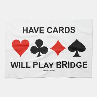 Tenga tarjetas jugará el puente (cuatro juegos de toallas de mano