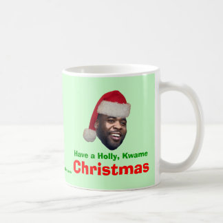 Tenga un acebo, Kwame, navidad Taza Básica Blanca
