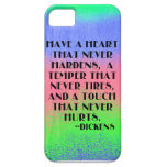 Tenga un corazón que nunca endurezca - cita de Dic iPhone 5 Protectores