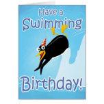 Tenga un cumpleaños de la natación tarjeta de felicitación