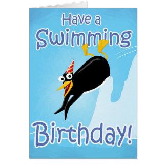 Tenga un cumpleaños de la natación felicitaciones
