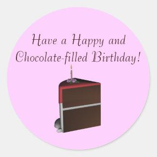 ¡Tenga un cumpleaños feliz y Chocolate-llenado! Pegatina Redonda