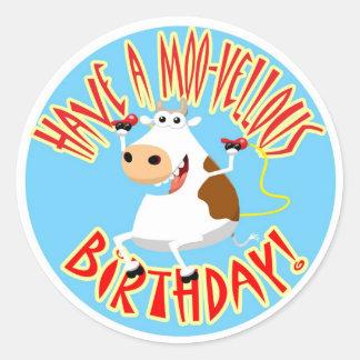 Tenga un cumpleaños MOO-Vellous Etiqueta