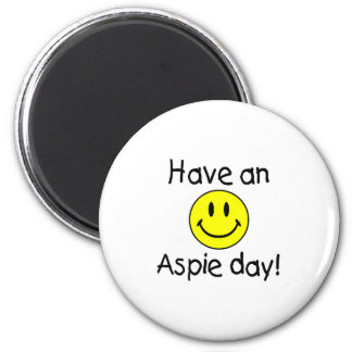 Tenga un día de Aspie (el smiley) Imán Redondo 5 Cm