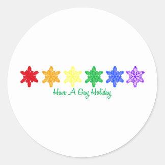 Tenga un día de fiesta gay (los copos de nieve del pegatinas redondas