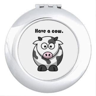 Tenga un dibujo animado de Holstein de la lechería Espejos Maquillaje