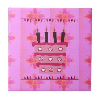 Tenga un feliz cumpleaños precioso azulejo cuadrado pequeño