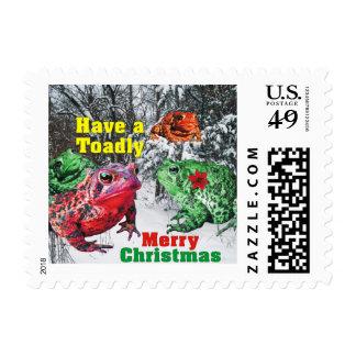 Tenga un franqueo de las Felices Navidad de Toadly Sellos