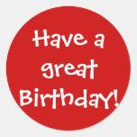 ¡Tenga un gran cumpleaños! Etiqueta Redonda
