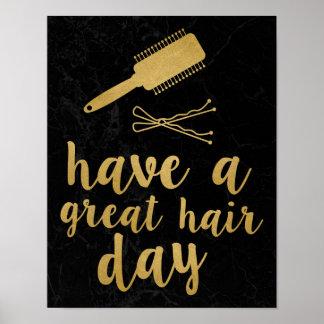 Tenga un gran oro del día del pelo póster