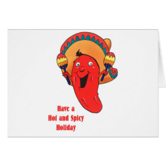 Tenga un navidad caliente y picante del día de fie tarjeta de felicitación