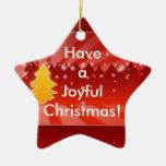 Tenga un ornamento alegre del rojo de los árboles adorno de cerámica en forma de estrella