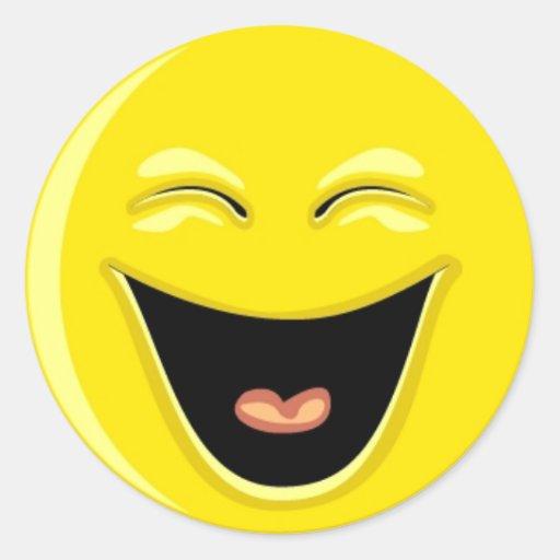 Tenga una cara del smiley de la risa pegatina redonda