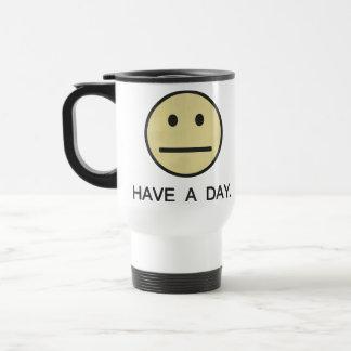 Tenga una cara del smiley del día taza de viaje de acero inoxidable