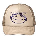 Tenga una cara feliz del día feliz gorros bordados